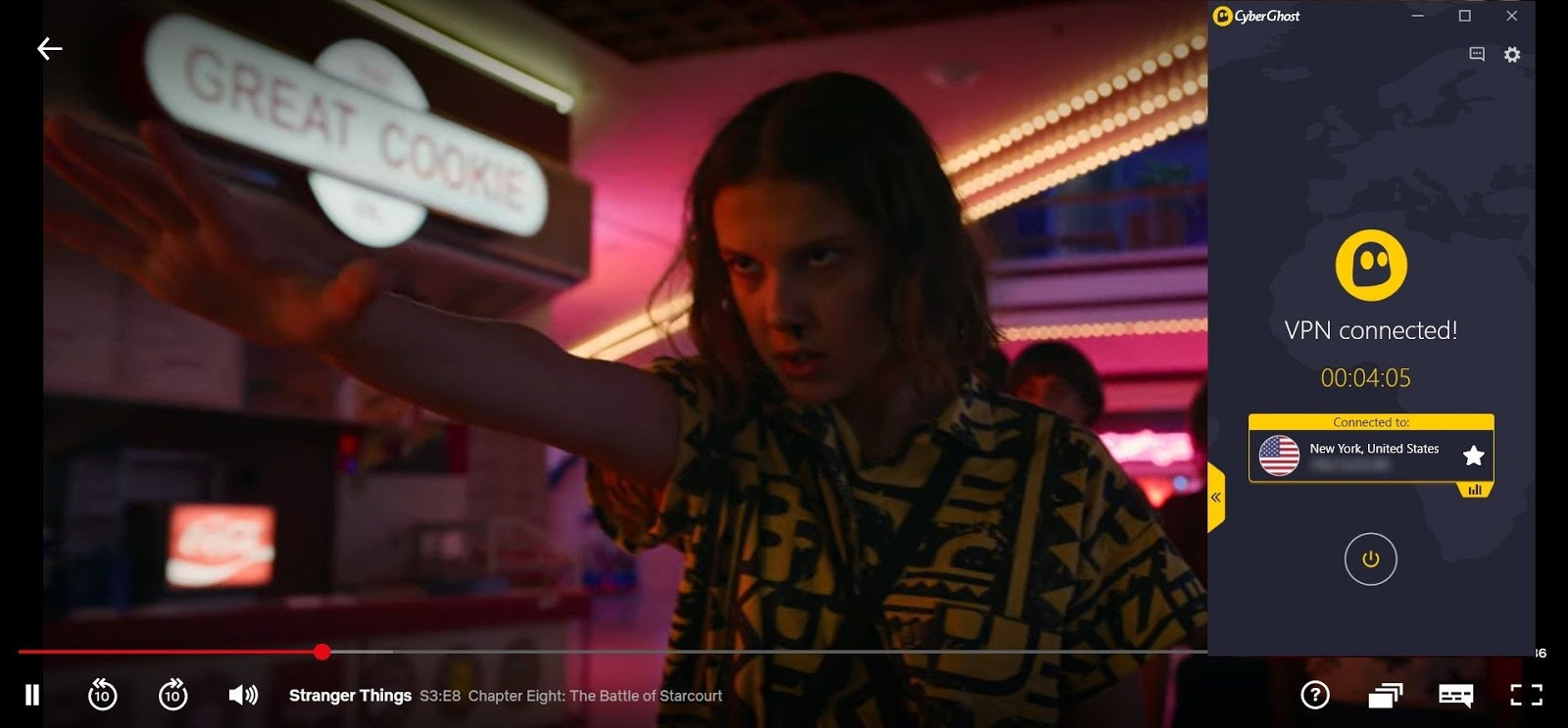 Screenshot of CyberGhost connected to US server with Stranger Things streaming on US Netflix