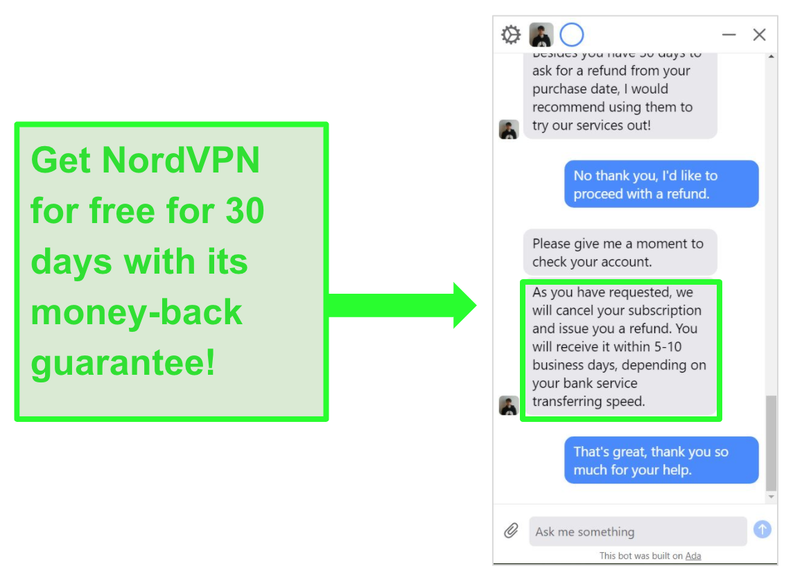 Screenshot of user asking NordVPN for a refund with the 30-day money-back guarantee on live chat