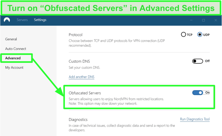 Screenshot of NordVPN's obfuscated servers in advanced settings