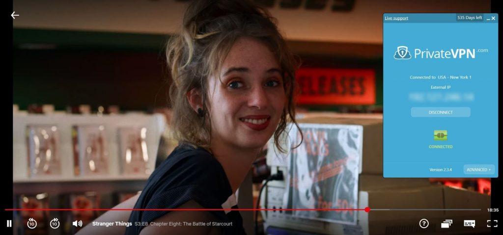 Netflix USで「Stranger Things」ストリーミングを使用してUSサーバーに接続されたPrivateVPNのスクリーンショット