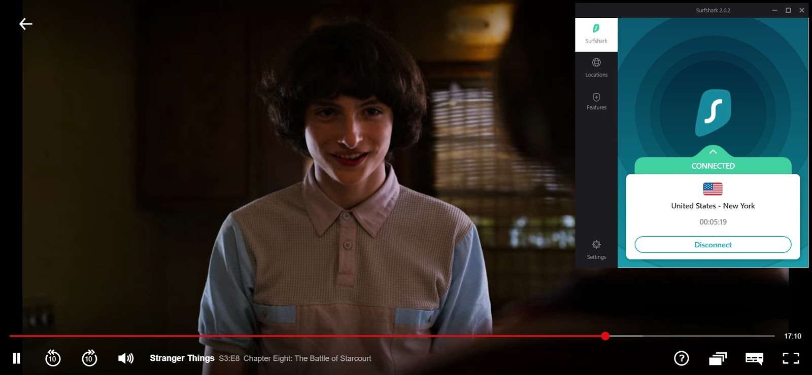 Screenshot of Surfshark connected to US server with Stranger Things streaming on US Netflix