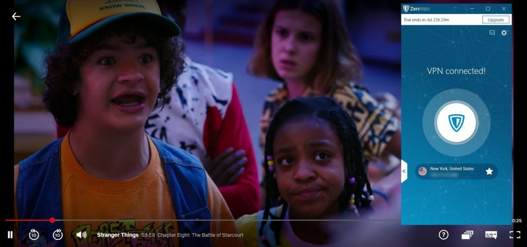 Screenshot de ZenMate streaming Netflix Stranger Things