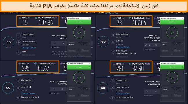 لقطة شاشة لنتائج اختبار سرعة Ookla مع اتصال PIA بخوادم مختلفة.