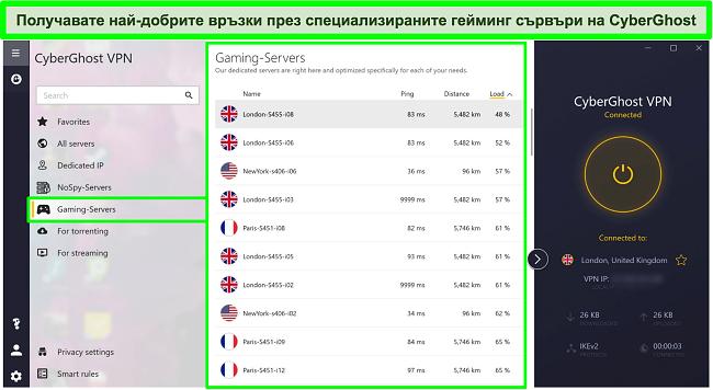 Екранна снимка на игрални сървъри CyberGhost с натоварване, сортирано по низходящ ред