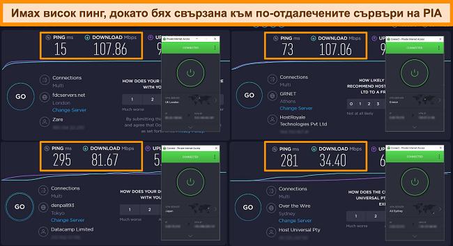 Екранна снимка на резултатите от теста за скорост на Ookla с PIA свързана към различни сървъри.