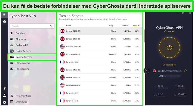 Skærmbillede af CyberGhost -gaming -servere med belastning sorteret efter faldende rækkefølge