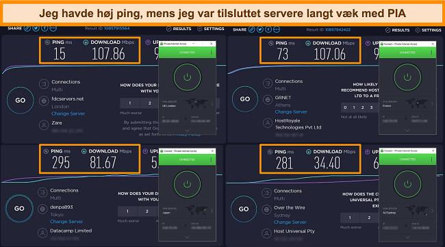 Skærmbillede af Ookla hastighedstestresultater med PIA forbundet til forskellige servere.