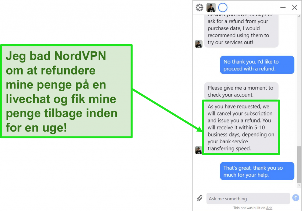 Skærmbillede af en refusion, der initieres og godkendes via NordVPNs kundesupport live chat