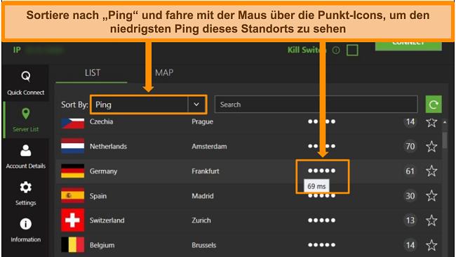 Screenshot der IPVanish-Serverliste in der Windows-App, wobei die Server nach Ping sortiert und die niedrigste verfügbare Latenz in dieser Region hervorgehoben werden.