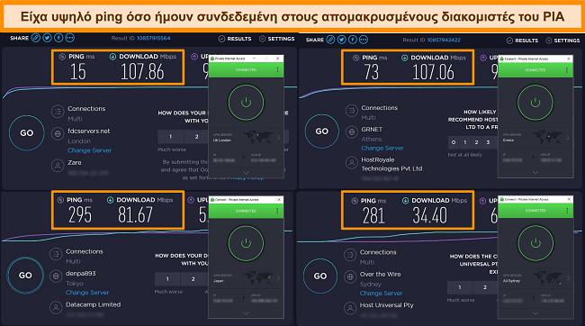 Στιγμιότυπο οθόνης των αποτελεσμάτων δοκιμής ταχύτητας Ookla με PIA συνδεδεμένο σε διαφορετικούς διακομιστές.