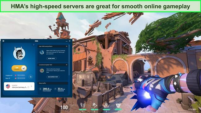 Screenshot of HMA connected to a US server with Valorant playing in the background.