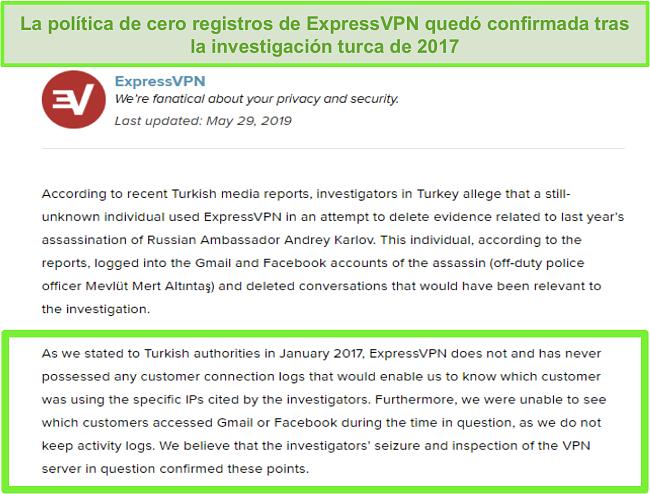 Captura de pantalla de la política de no registros de ExpressVPN