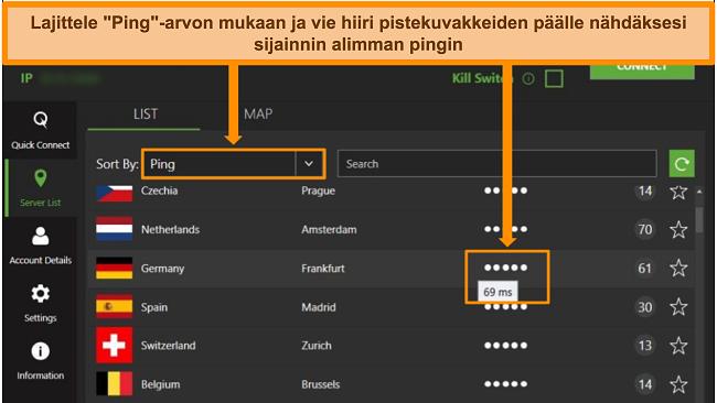 Kuvakaappaus IPVanish -palvelinluettelosta Windows -sovelluksessa korostamalla palvelimet, jotka on lajiteltu pingin mukaan ja alin käytettävissä oleva viive tällä alueella.