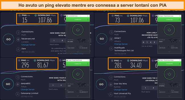 Screenshot dei risultati del test di velocità Ookla con PIA connesso a server diversi.