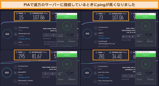 異なるサーバーに接続されたPIAを使用したOokla速度テスト結果のスクリーンショット。