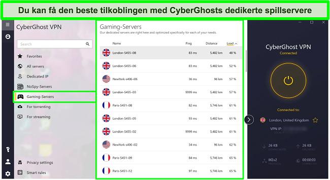 Skjermbilde av CyberGhost -spillservere med belastning sortert etter synkende rekkefølge
