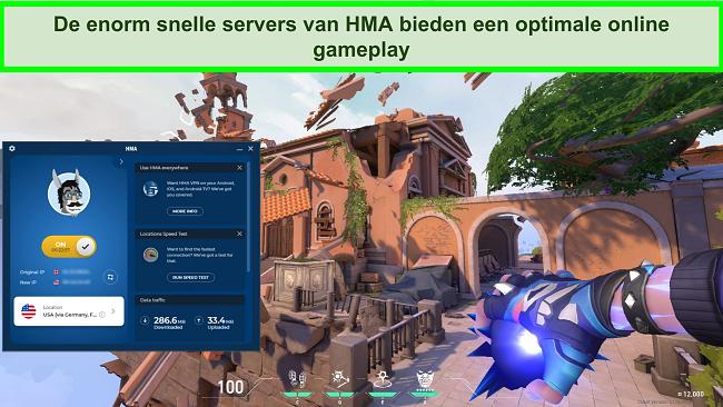 Screenshot van HMA verbonden met een Amerikaanse server met Valorant op de achtergrond.
