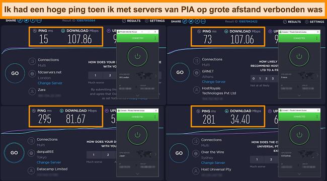 Screenshot van Ookla-snelheidstestresultaten met PIA verbonden met verschillende servers.