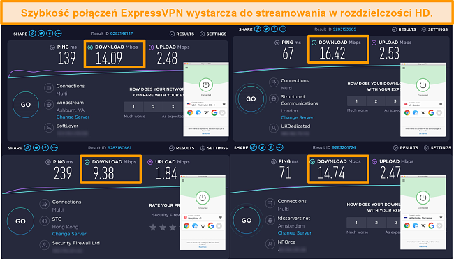 Screenshot of ExpressVPN's servers in the US, UK, Netherlands, and Hong Kong with speed test results