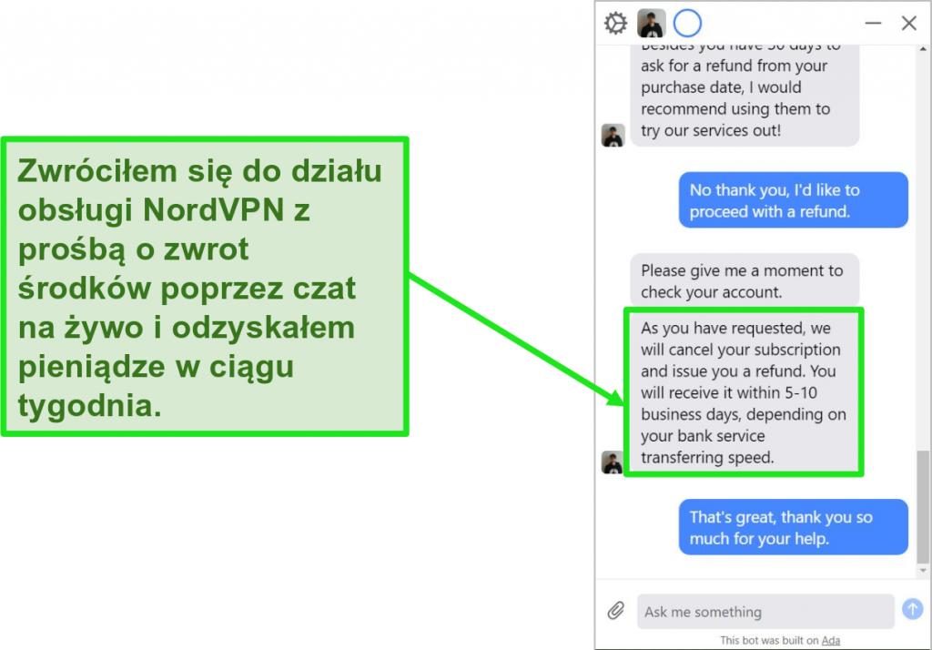 Zrzut ekranu przedstawiający klienta żądającego zwrotu pieniędzy z 30-dniową gwarancją zwrotu pieniędzy na czacie na żywo NordVPN