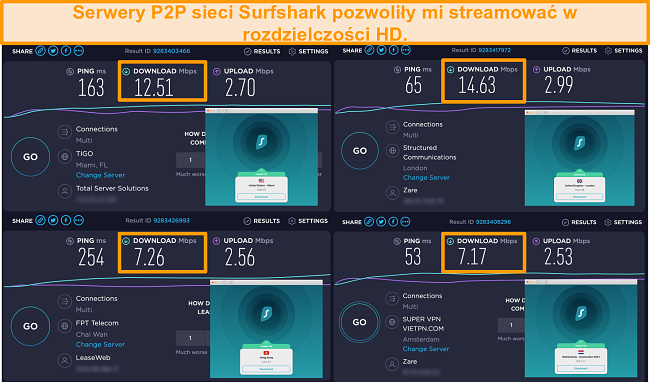 Screenshot of Surfshark's servers in the US, UK, Netherlands, and Hong Kong with speed test results