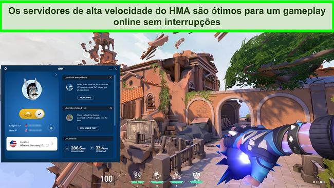 Captura de tela do HMA conectado a um servidor dos EUA com Valorant tocando em segundo plano.