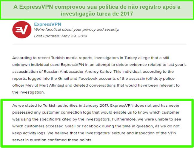 Captura de tela da política de não registros do ExpressVPN