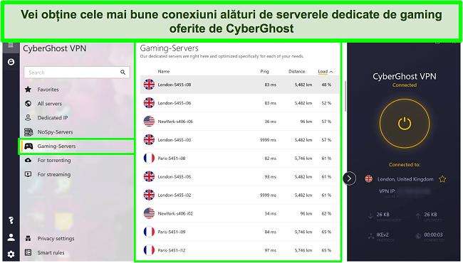Captură de ecran a serverelor de jocuri CyberGhost cu încărcare sortată în ordine descrescătoare