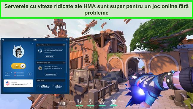 Captură de ecran a HMA conectat la un server din SUA cu Valorant jucând în fundal.
