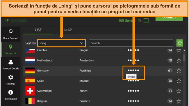 Captură de ecran a listei de servere IPVanish din aplicația Windows, evidențiind serverele sortate după ping și cea mai mică latență disponibilă din acea regiune.