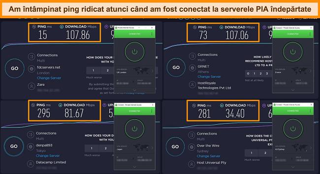 Captură de ecran a rezultatelor testului de viteză Ookla cu PIA conectat la diferite servere.