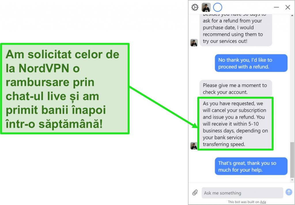 Captură de ecran a unei rambursări inițiată și aprobată prin chatul live de asistență pentru clienți al NordVPN