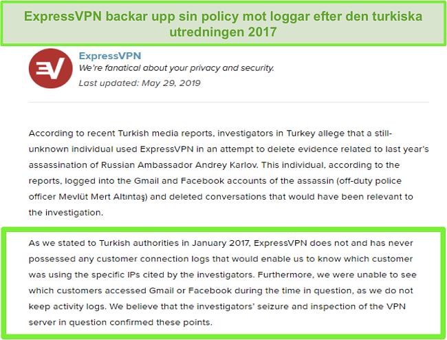 Skärmdump av ExpressVPN: s policy utan loggar