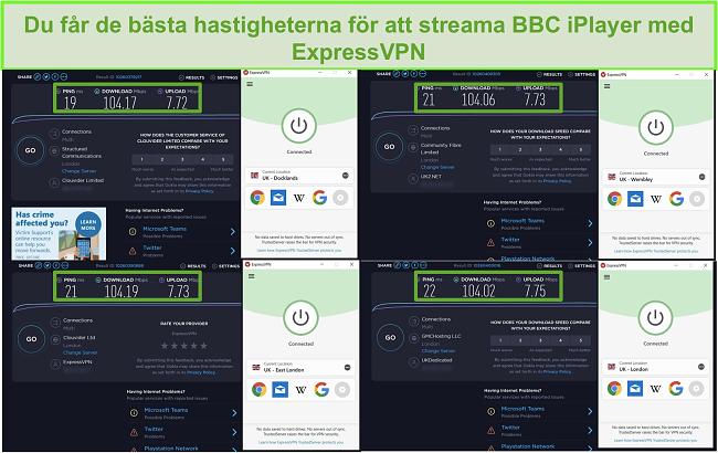 Skärmdump av ExpressVPN som avblockerar BBC iPlayer i höga hastigheter