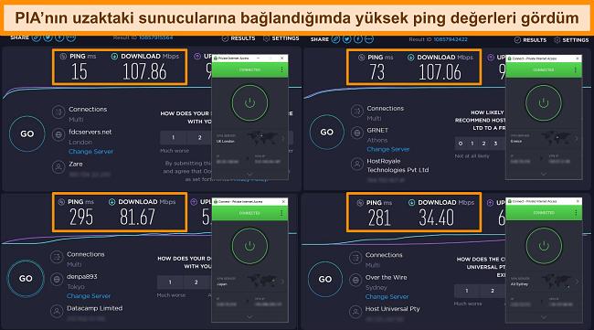 Farklı sunuculara bağlı PIA ile Ookla hız testi sonuçlarının ekran görüntüsü.