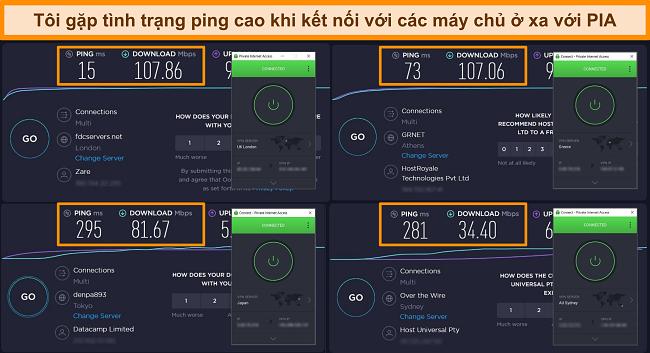 Ảnh chụp màn hình kết quả kiểm tra tốc độ Ookla với PIA được kết nối với các máy chủ khác nhau.