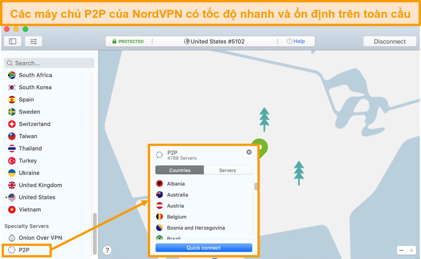 Ảnh chụp màn hình của tính năng Kết nối nhanh NordVPN cho các máy chủ P2P của bạn