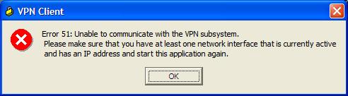 Screenshot of Microsoft Windows error 51