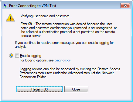 Screenshot of Microsoft Windows error connecting to VPN test
