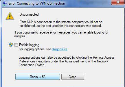 Screenshot of Microsoft Windows error 619