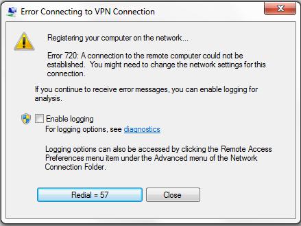 Screenshot of Microsoft Windows error 720