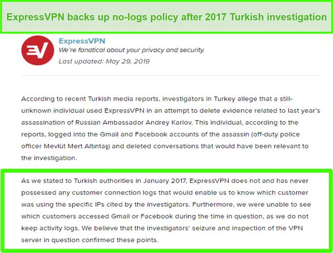 Screenshot of ExpressVPN's no-logs policy