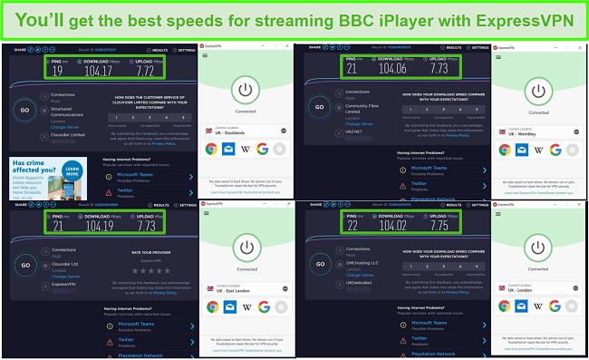 Screenshot of ExpressVPN unblocking BBC iPlayer at fast speeds
