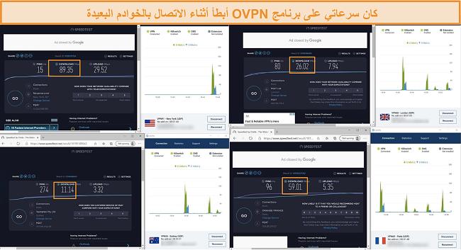 لقطة شاشة لأربع اختبارات سرعة أثناء الاتصال بـ OVPN