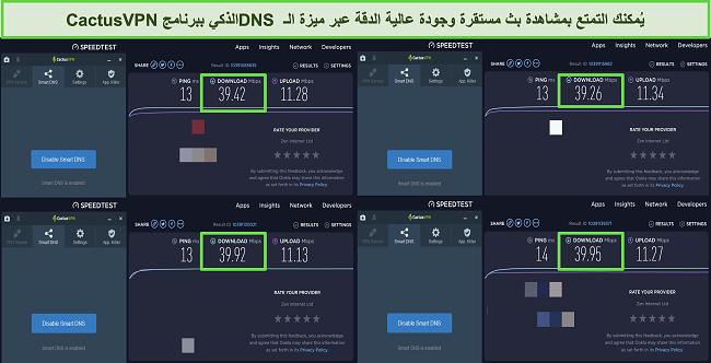 لقطة شاشة لأربعة اختبارات سرعة أثناء الاتصال بخوادم DNS الذكية الخاصة بـ CactusVPN