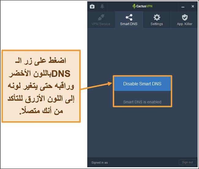 لقطة شاشة لواجهة CactusVPN توضح كيفية تمكين DNS الذكي