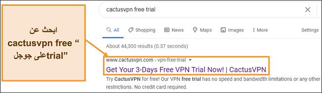 لقطة شاشة توضح كيفية العثور على الإصدار التجريبي المجاني من CactusVPN على Google