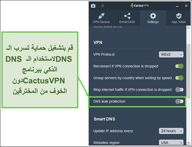 لقطة شاشة توضح كيفية تمكين الحماية من تسرب DNS