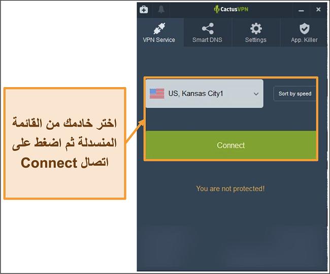 لقطة شاشة لواجهة CactusVPN تعرض القائمة المنسدلة لاختيار الخادم