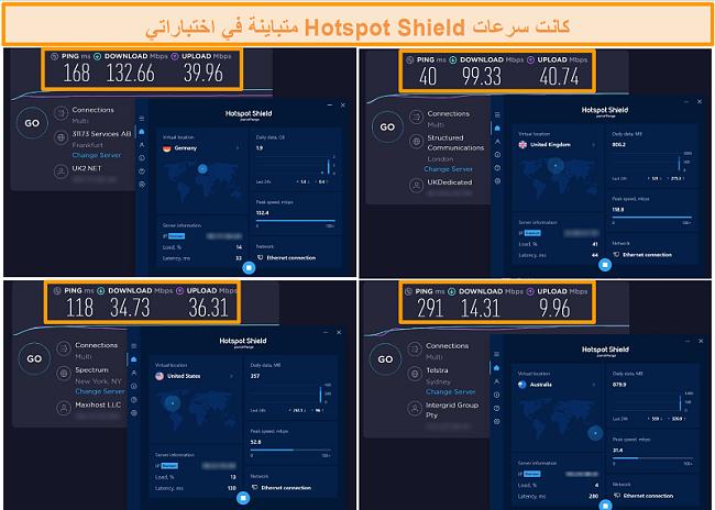 لقطة شاشة لاختبارات سرعة Hotspot Shield من ألمانيا والمملكة المتحدة والولايات المتحدة وأستراليا